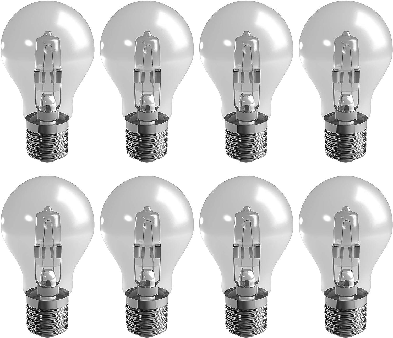 Duracell e27 70w a-forma eco halógena regulable es edison tornillo luz de bulbo, equivalente a 92w, 1200 lúmenes (8 bombillas)