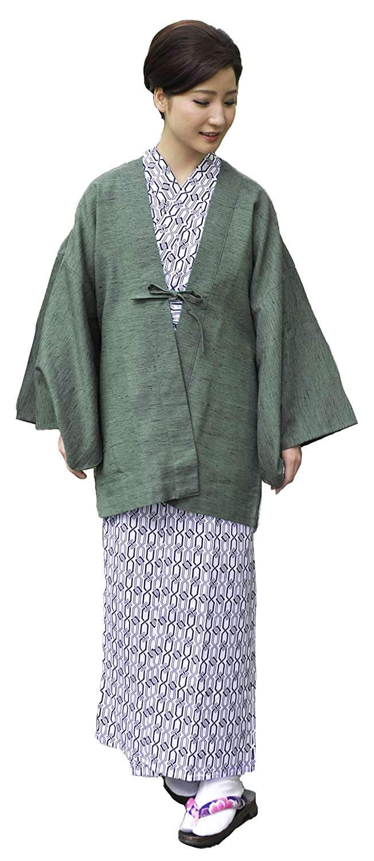 (キョウエツ) KYOETSU レディース旅館浴衣4点セット(羽織/旅館浴衣/帯/共紐) B06XBWTHJ1 浴衣-150|羽織-緑 羽織-緑 浴衣-150