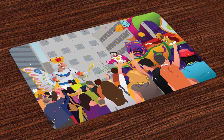 Ambesonne ニューオーリンズ プレースマット 4枚セット マルディグラフェスティバル カートゥーンスタイル ファット 火曜日 カーニバル パレード付き 洗えるファブリックプレースマット ダイニングルーム キッチンテーブル装飾 マルチカラー   B07NDCKQJZ