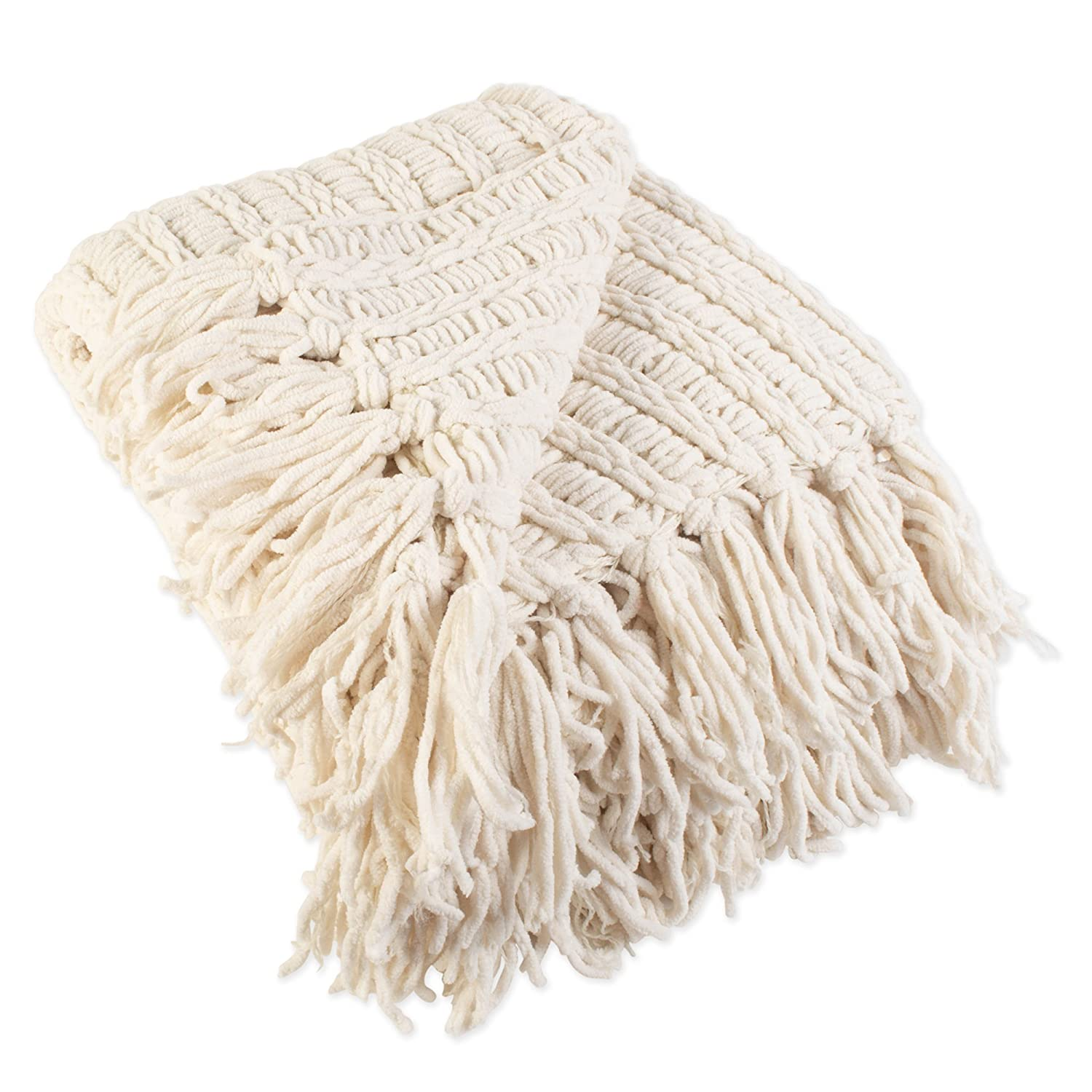 c9ee5005d4c J M Home Fashions Luxury Chenille Woven Knitted Throw Blanket with Fringe  (50x60