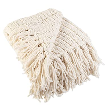 J&M Home Fashions Luxury Chenille Woven Knitted Throw Blanket with Fringe (50x60  - Cream), Reversible, Soft, & Warm for Bed, Chair, Couch, Camping, Beach, or Travel