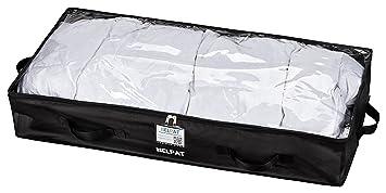 Premium Unterbettkommode mit Sichtfenster, Haltegriffen und Beschriftungsfenster - 100 x 48 x 18 cm - staubfreie Kleideraufbe