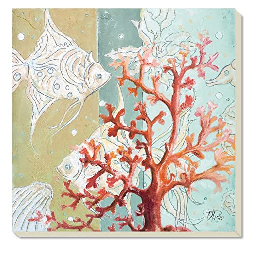 Coastal Christmas Tablescape Décor - Red coral and fish absorbent coasters - Set of 4