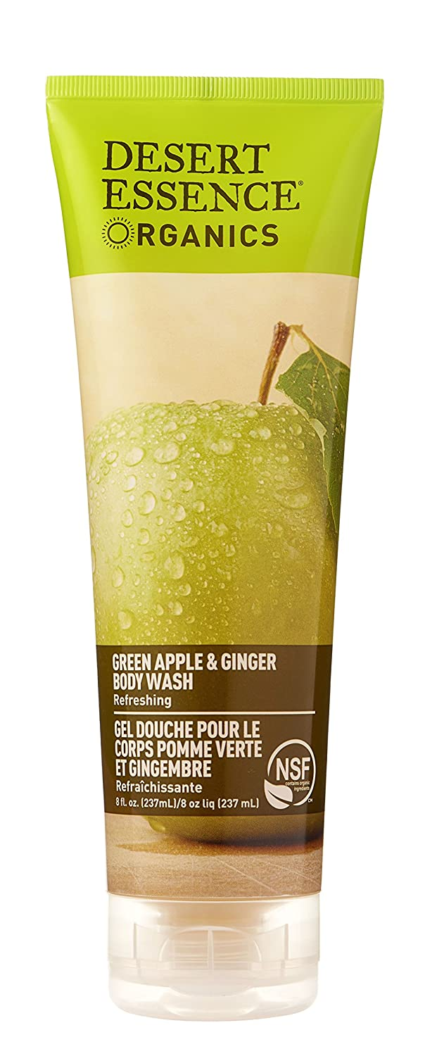 Desert Essence Green Apple & Ginger Body Wash - 8 Fl Ounce - Refreshing - Vitamins A, B & C - Scented - Cleanses & Revitalizes - Yucca Cactus - No Parabens