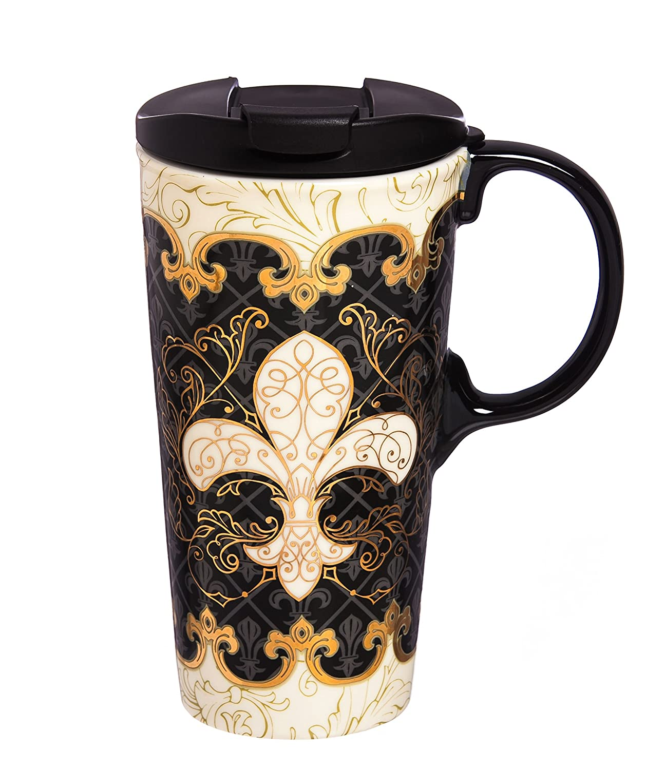 Cypress Home Baroque Splendor Ceramic Travel Coffee Mug, 17 ounces Evergreen Enterprises Inc.