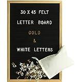 Gadgy Letter Board Holz und Filz 30x45 cm | Buchstaben Tafel Buchstabenbrett Rillentafel | Mit 680 Weiße und Goldfarbige Buchstaben & Zahlen und Beutel | Retro Felt