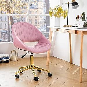 OVIOS Cute Desk Chair,Plush Velvet Office Chair for Home or Office,Modern,Comfortble,Nice Task Chair for Computer Desk. (Golden-Light Pink)