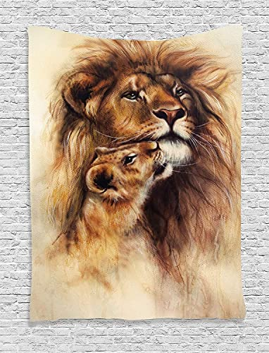 Ambesonne Safari Decor Collection, Illustration Painting of a Loving Lion and Her baby Cub Snuggle Wildlife Nature Image, Bedroom Living Room Dorm Wall Hanging Tapestry, Cream Peru Black