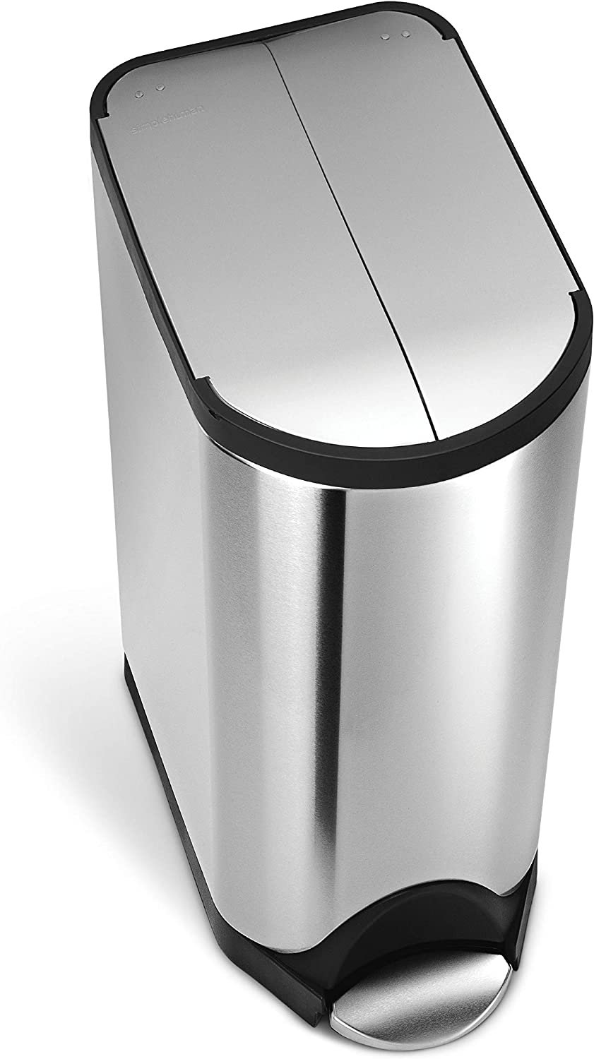 simplehuman 30 Liter / 8 Gallon Stainless Steel Butterfly Lid Kitchen Step Trash Can, Brushed Stainless Steel