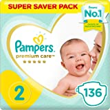 Pampers Premium care Diapers, Size 2, Mini, 3-8 kg, Super Saver Pack, 136 Count
