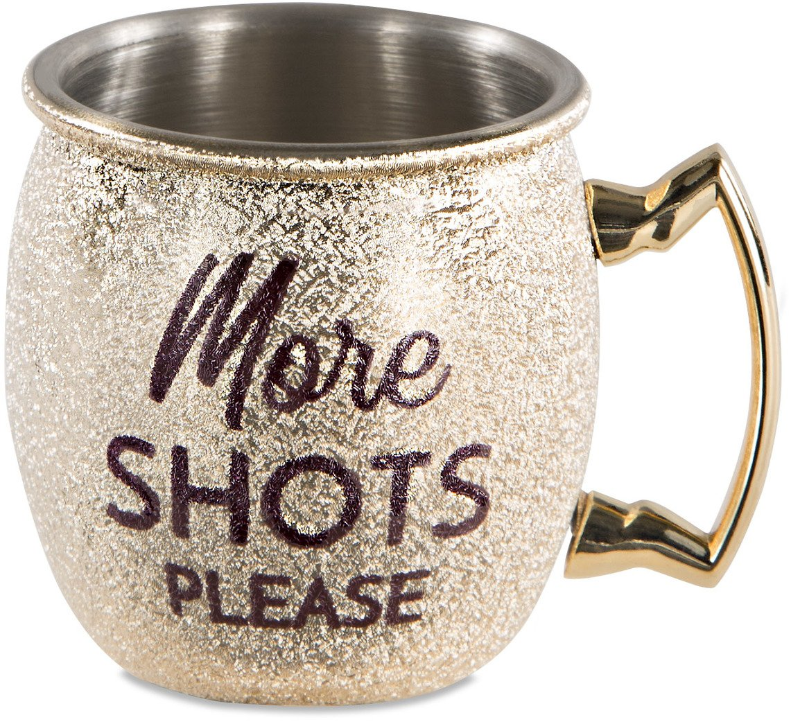 Pavilion - More Shots Please - Gold 2 oz Stainless Steel Mini Moscow Mule Shot Glass
