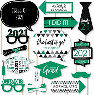 product image for Big Dot of Happiness Green Grad - Best is Yet to Come - Green 2021 Graduation Party Photo Booth Props Kit - 20 Count