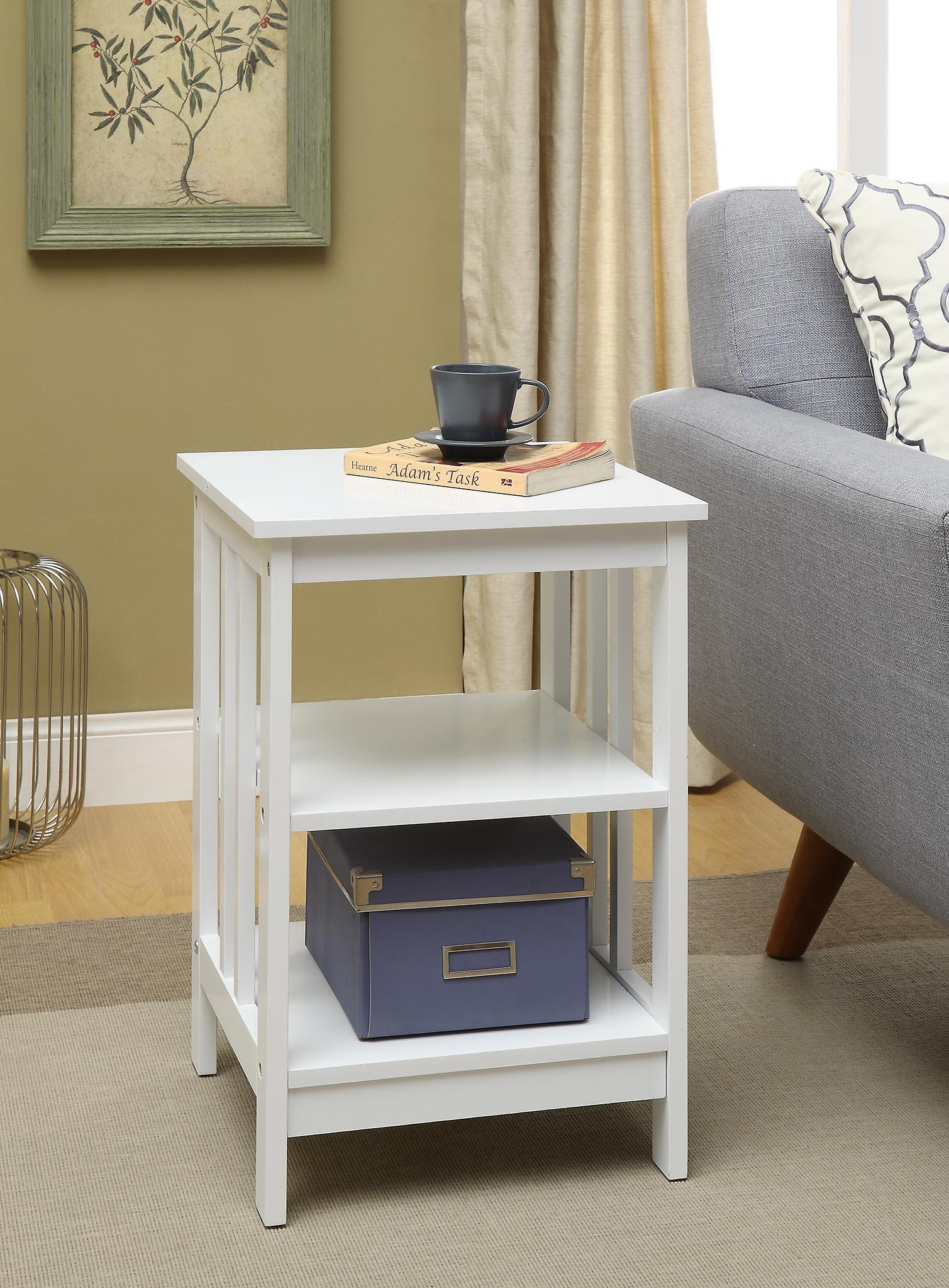 White Finish Wooden Chair Side End Table with 3-tier Shelf by eHomeProducts