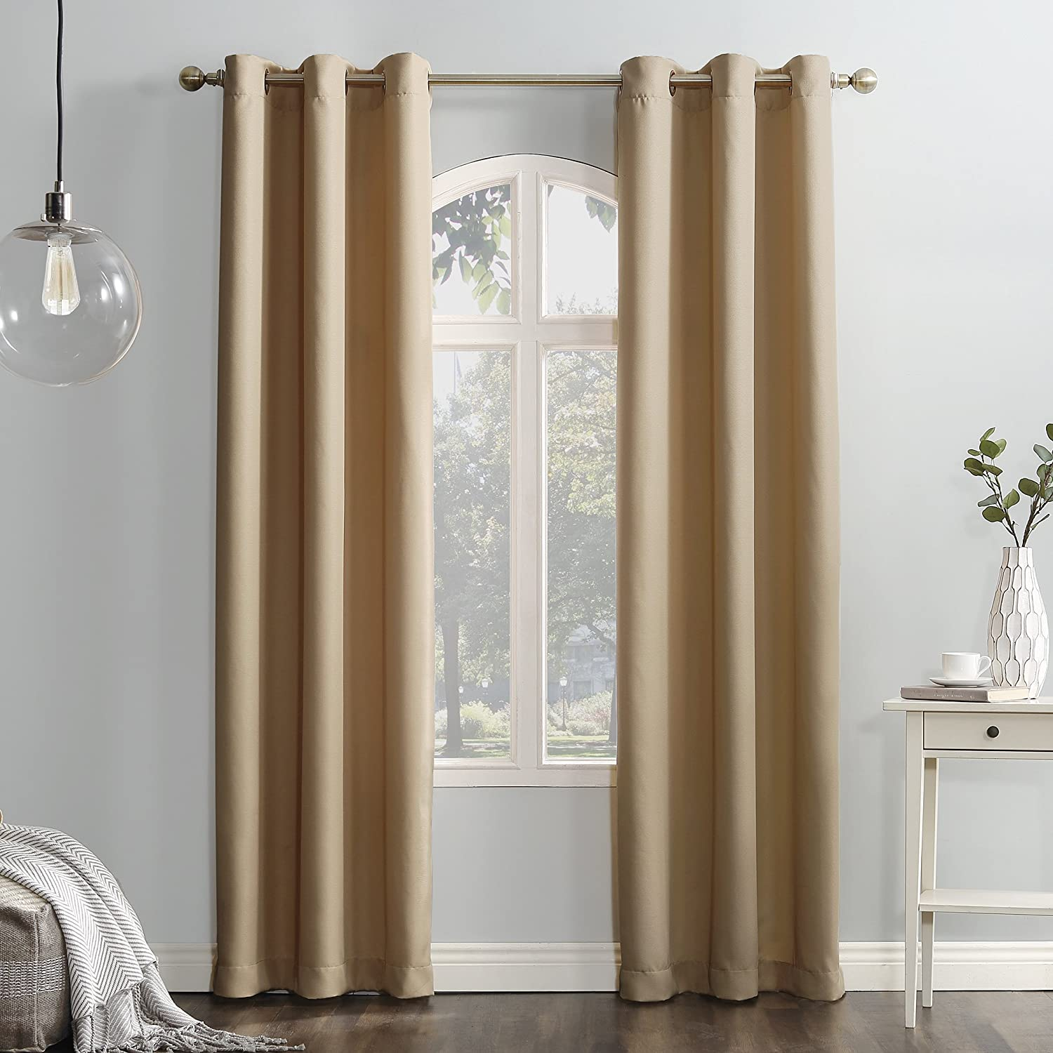 """No. 918 Montego Casual Textured Grommet Curtain Panel, 48"""" x 95"""", Taupe"""