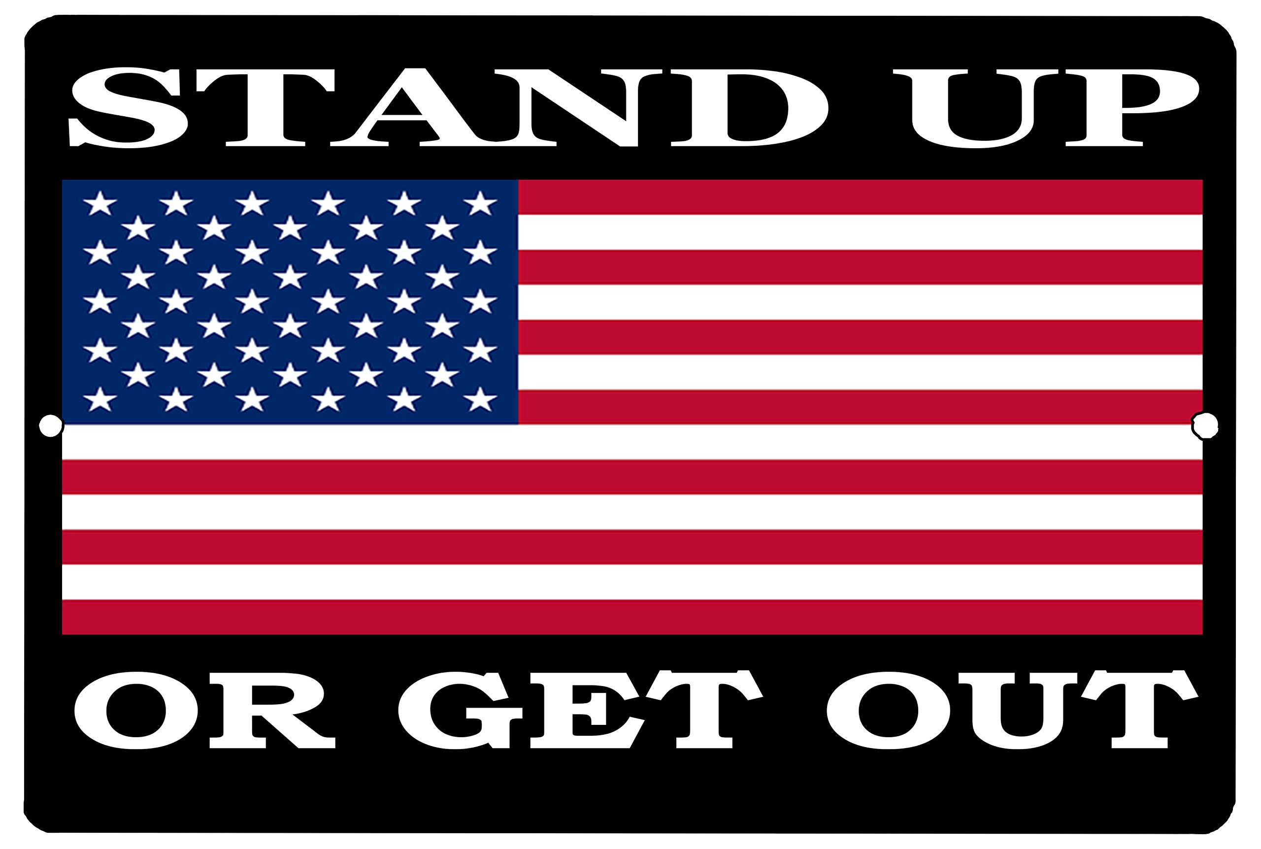 Rogue River Tactical USA American Flag Metal Tin Sign Wall Decor Man Cave Bar Stand Up Or Get Out Patriotic