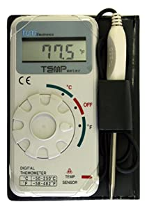 """HM Digital TM-1 Industrial Grade Digital Celsius and Fahrenheit Thermometer, -50 to +250 Degree C / -58 to +482 Degree F Temperature Range, Stainless Steel Probe, 20"""" Cable"""