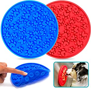 Matier 2 pc Dog Lick Mat for Anxiety   Silicone Dog Licking Mat with Brush is Ideal for Dog Bath and Grooming   Paw Lick Mats with Strong Suction Cups Distract Your Pet   Slow Feeder Dog Lick Pads