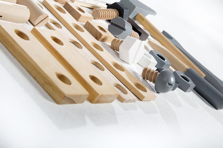 mehrfarbig roba Holzbaukasten Konstruktionsspielzeug- /& Werkzeug 48-teiliges Kinder-Baukasten-Set
