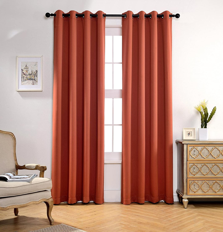 Bonus 2 Tie Backs Included MIUCO Room Darkening Grommet Blackout Curtains for Livingroom Curtains Panels Set of 2 52x63 Inch Aubergine