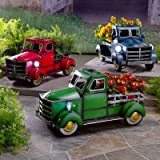 Solar Pickup Truck Flower Pot with Car Light,Small Truck Flower Pot Planter, Retro Style Vintage Metal Truck Planter, Planter