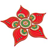 KRIWIN® Handicraft Designer Rangoli,Red Color - 10 Inch Dia - 6 Piece Set (Red)
