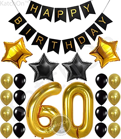 KatchOn 60th Birthday Party Decorations KIT - Happy Birthday Black Banner, 60th Gold Number Balloons,Gold and Black, Number 60, Perfect 60 Years Old ...