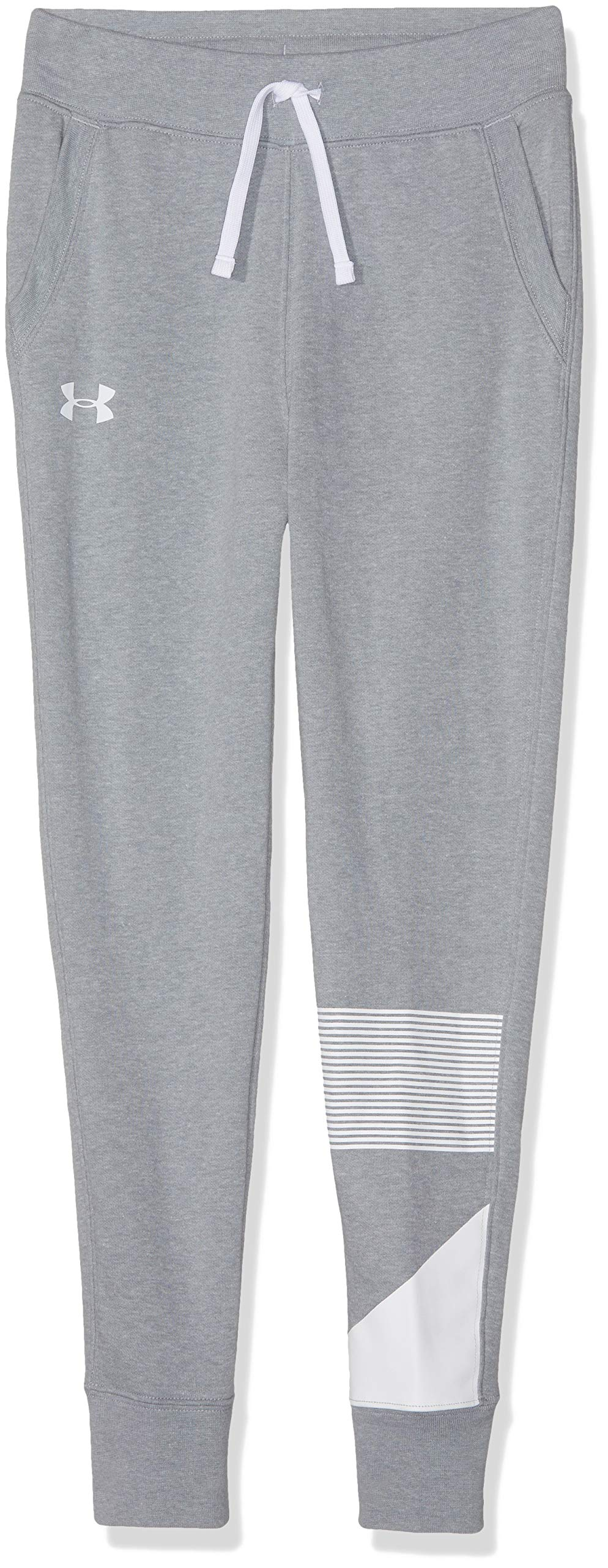 Under Armour Girls Rival Jogger, Steel Light Heather (035)/White, Youth Medium