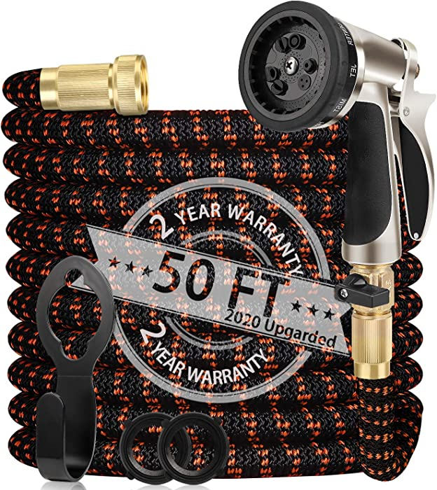 "WGCC Expandable Garden Hose, 50Ft [Extra-Thick 4 Layers Latex Core] 5-in-1 Water Garden Hose with Heavy Duty 9 Function Sprayer Nozzle- Water Hose with 3/4"" Solid Brass Fittings"