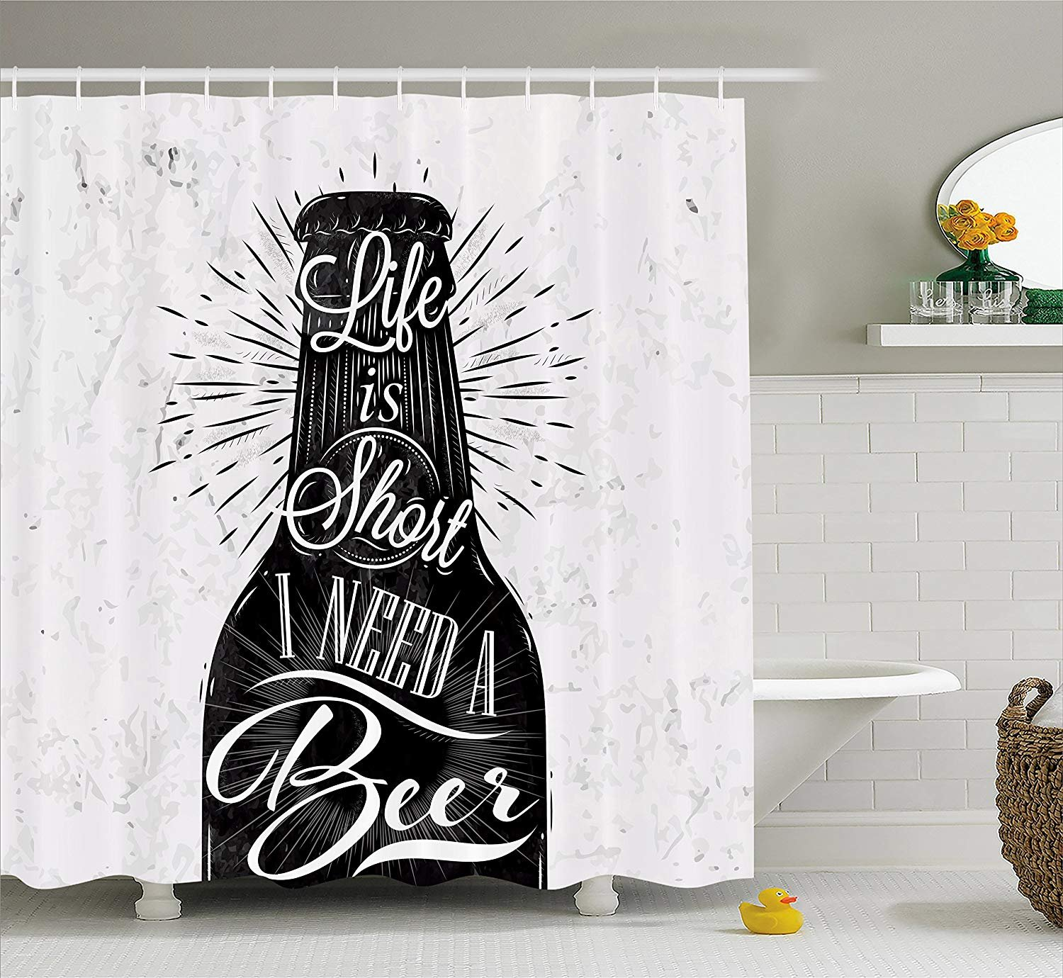 Ambesonne Manly Decor Collection, Wine Glass in Retro Vintage Style Lettering Life is Short I Need a Beer Pattern, Polyester Fabric Bathroom Shower Curtain, 84 Inches Extra Long, Black White Grey