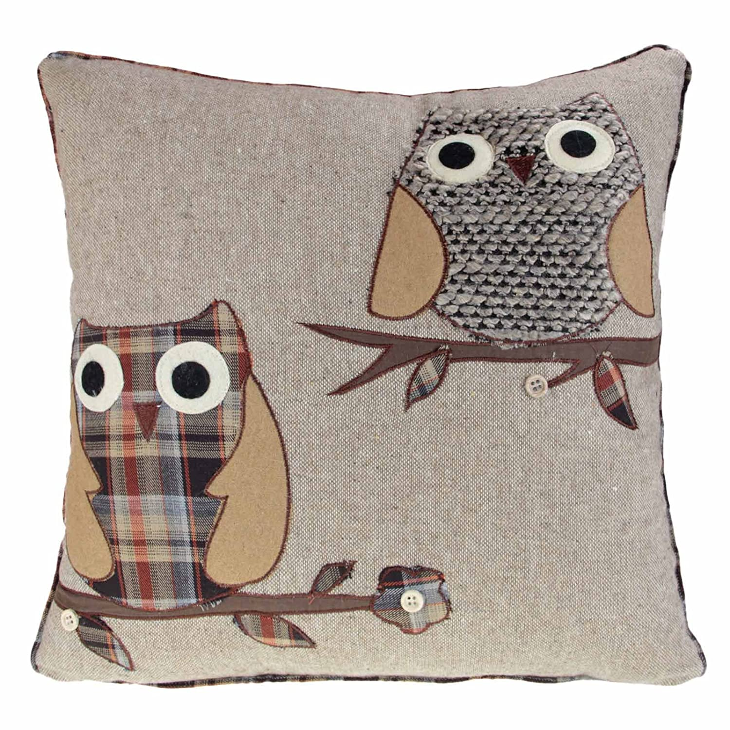 Ideal Textiles, Owl Cushion Covers, Wool Blend Cushions, Tartan Check Fabric, Luxury Piped Edges, Machine Washable, 18