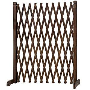 MyGift Expandable Freestanding Wood Garden Trellis Fence Plant Screen