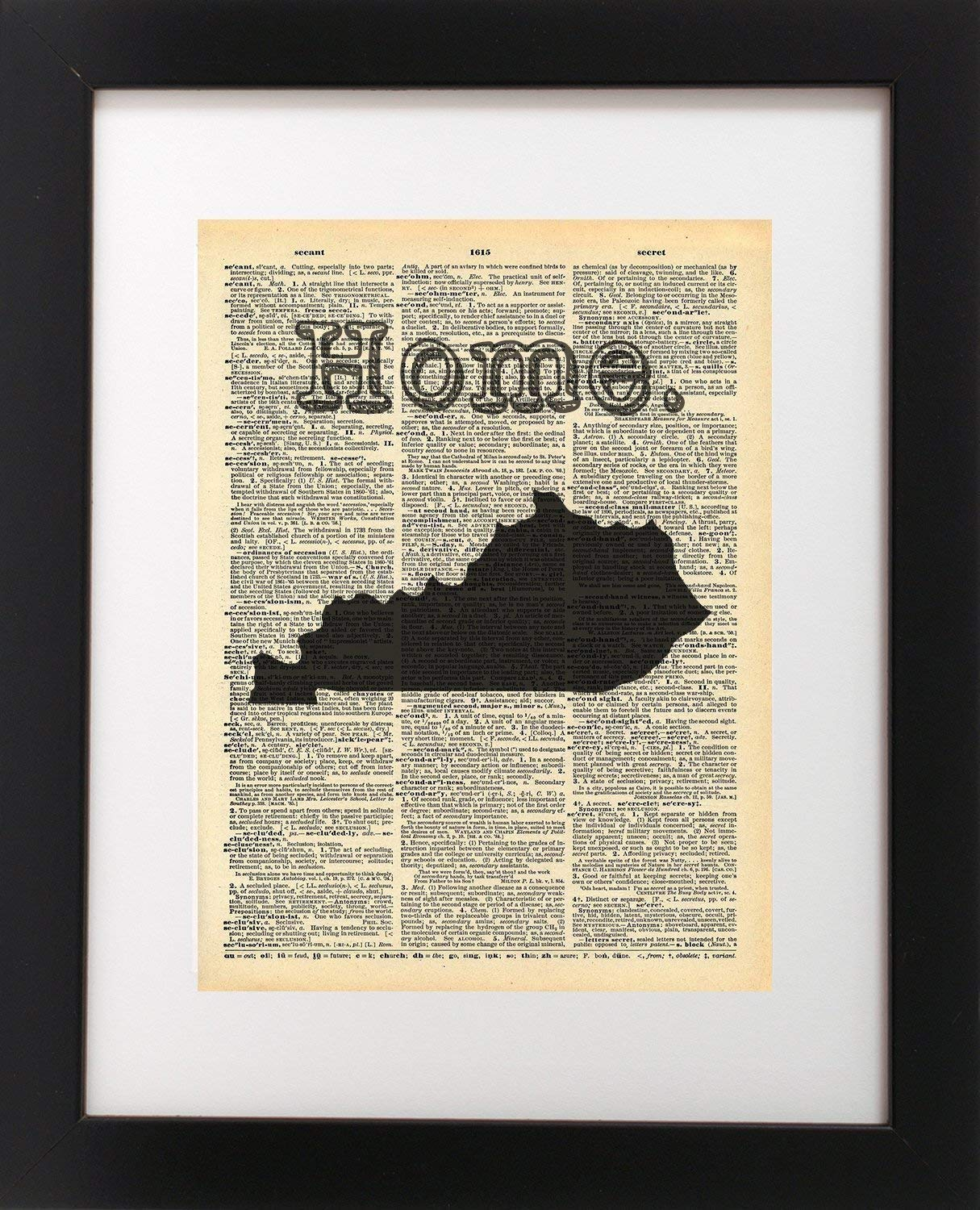 Kentucky Home Top State Vintage Map Dictionary Art Print 8x10 inch Home Vintage Art Abstract Prints Wall Art for Home Decor Wall Decorations For Living Room Bedroom Office Ready-to-Frame