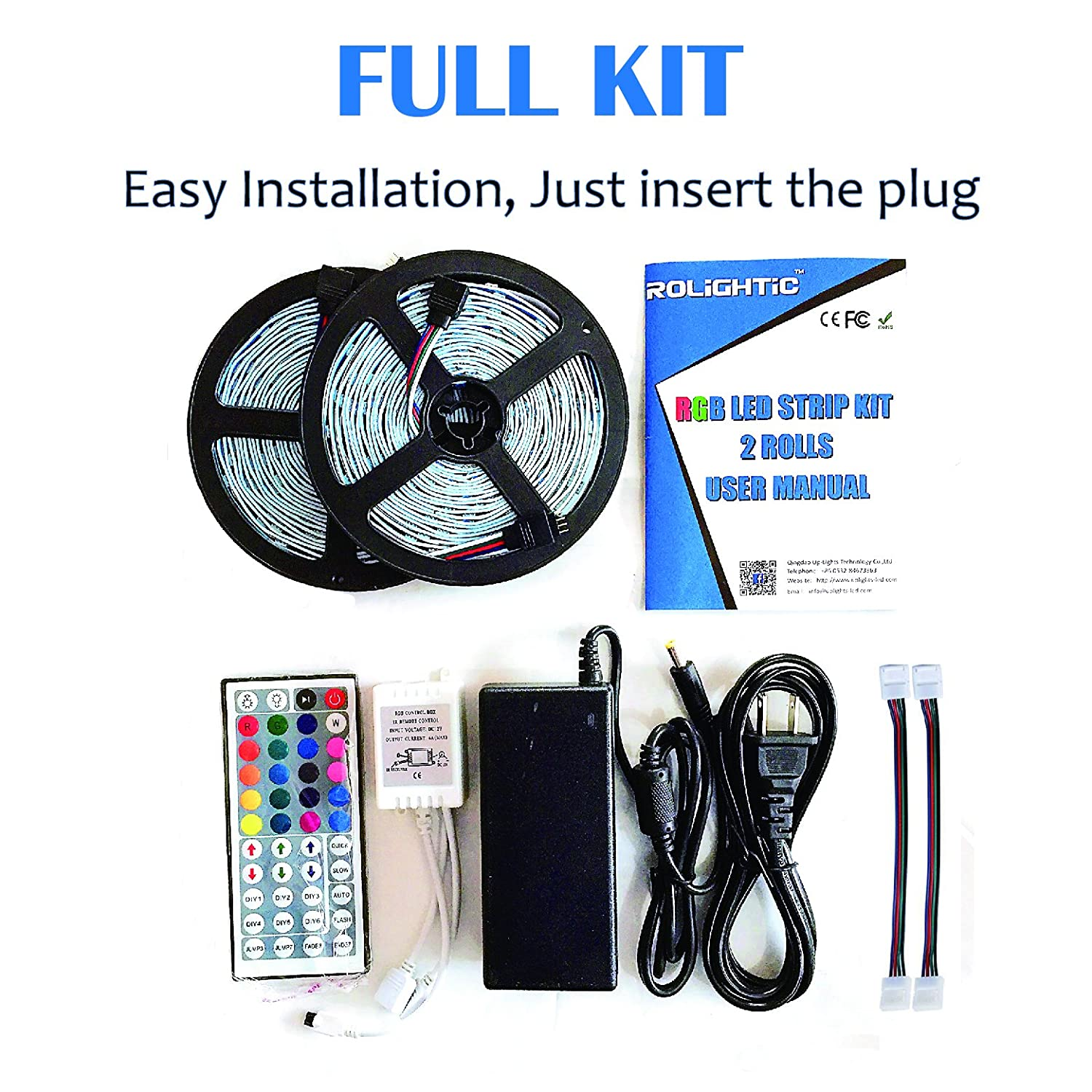 Rolightic Led Strip Lights Kit Non Waterproof Smd 5050 Of Parts For P3 Wiring Diagram 328 Ft 10m 300leds Rgb Light With 44key Ir Controller And 12v 5a Power Supply
