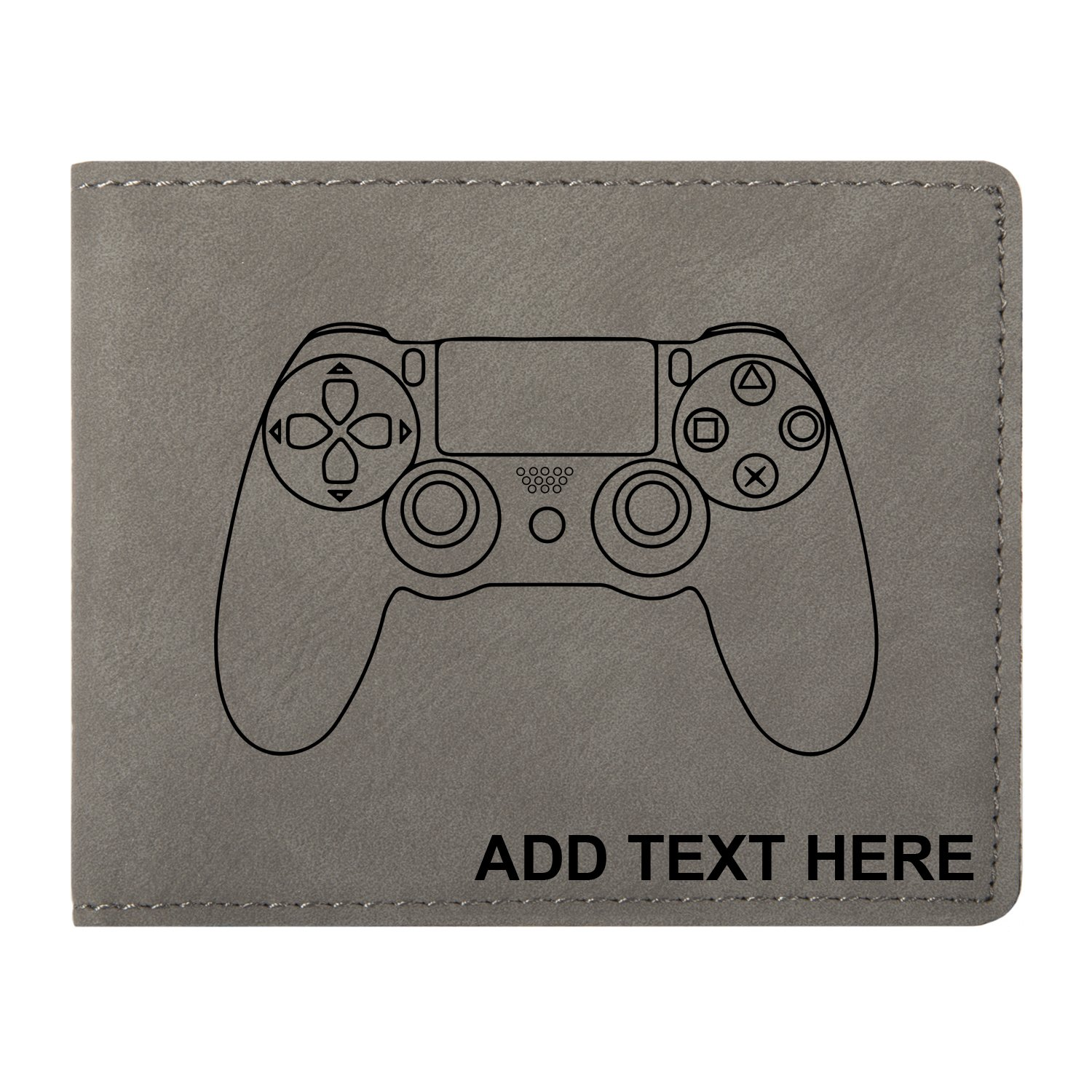 Personalized Engraved PS4 Controller Vegan Leather Bifold Wallet
