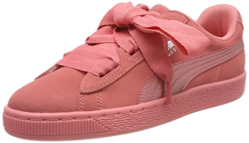 8 Puma SUEDE Heart Valentine Pink Leather Bow Sneakers