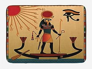 Ambesonne Egyptian Print Bath Mat, Sun Old Egyptian Timeless Grace Tradition Illustration, Plush Bathroom Decor Mat with Non Slip Backing, 29.5