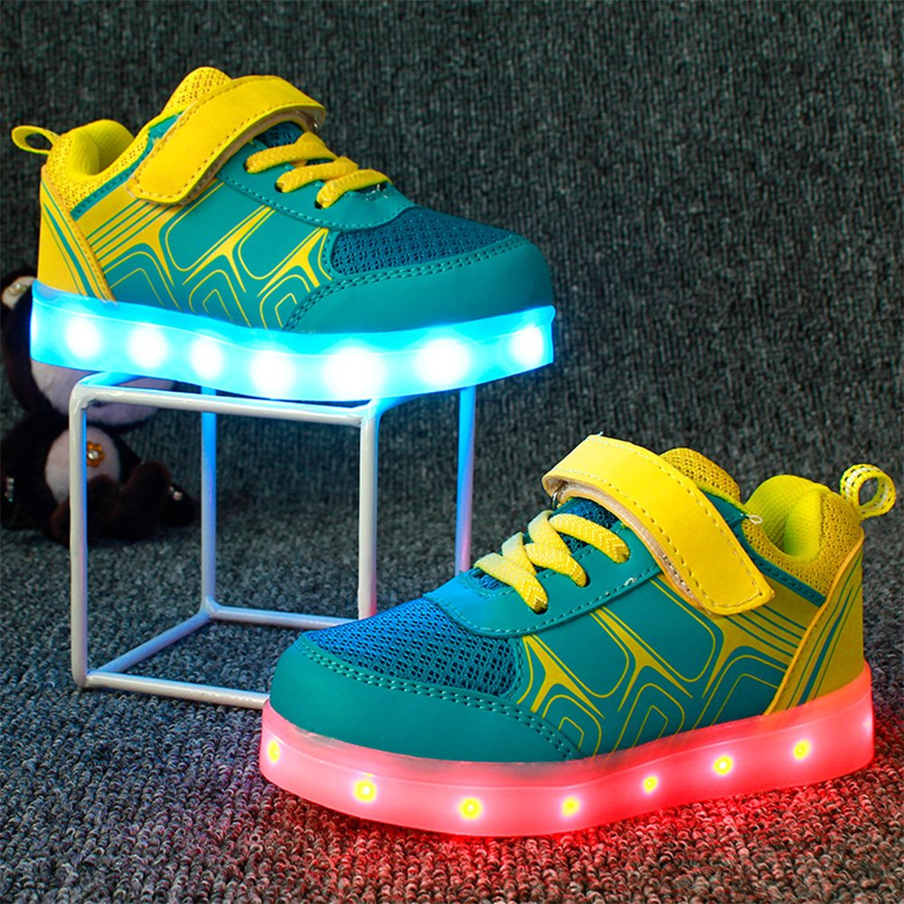 Feicuan Kids LED Light Sport Shoes USB Charging Flashing Sneaker