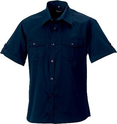 Russell Collection - Camisa de Manga Corta remangada para Trabajar Hombre Mujer - Trabajo/Fiesta/Verano: Amazon.es: Ropa y accesorios