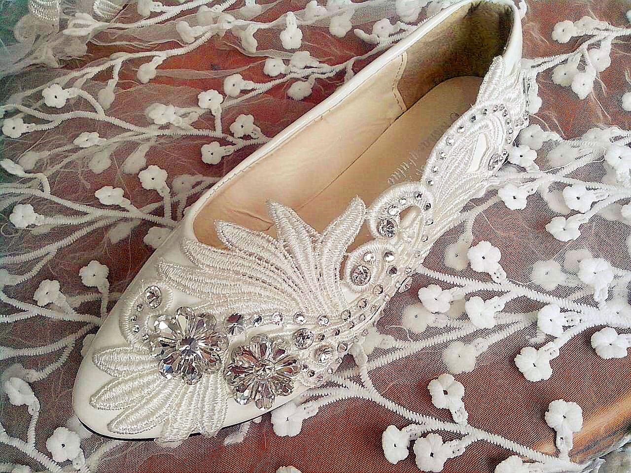 JINGXINSTORE Wohnung 4 7 5 cm Absatz weiß elfenbein Crystal lace Wedding schuhe Bridal Größe 6-10