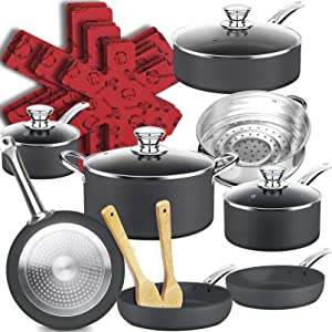 Dealz Frenzy Nonstick Hard Anodized Aluminum Cookware Set,20 Piece Cookware Pots and Pans,Non-toxic,Dish washer and Oven Safe,Black gray,Father's Day Gift