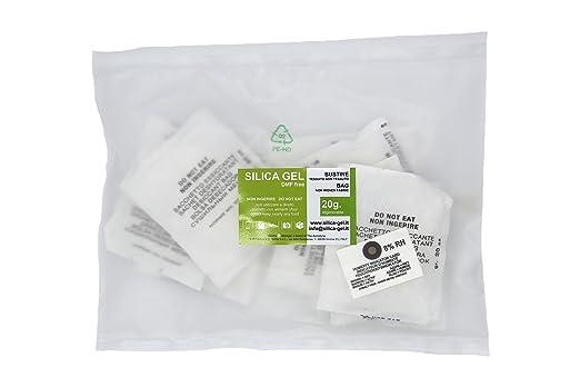 2 opinioni per Silica gel- 10 bustine disidratanti da 20 grammi cadauna sali essiccanti