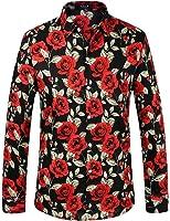 SSLR Men's Vintage Printed Button Down Casual Long Sleeve Shirt at ...