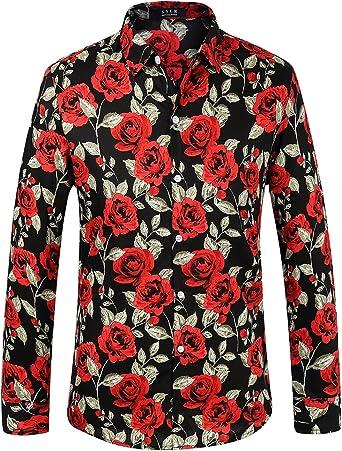 SSLR Camisa con Estampado de Rosas Manga Larga de Algodón para Hombre: Amazon.es: Ropa y accesorios