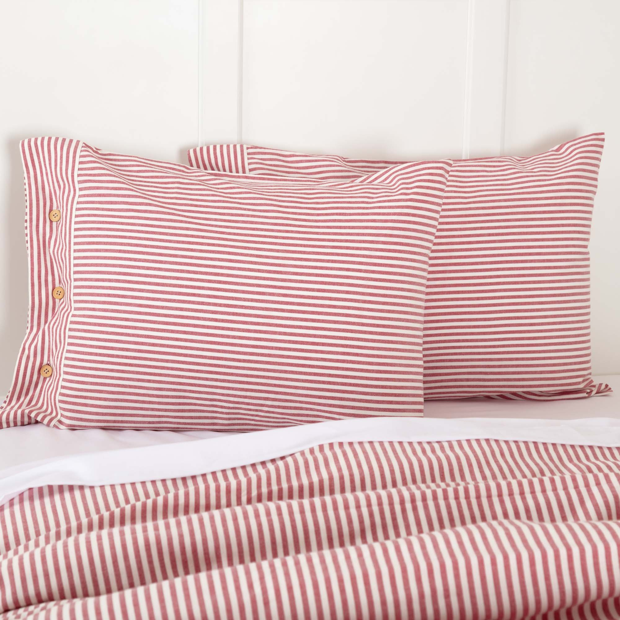 Piper Classics Farmhouse Ticking Stripe Red Standard Sham, 21'' x 27'', Bed Pillow Cover
