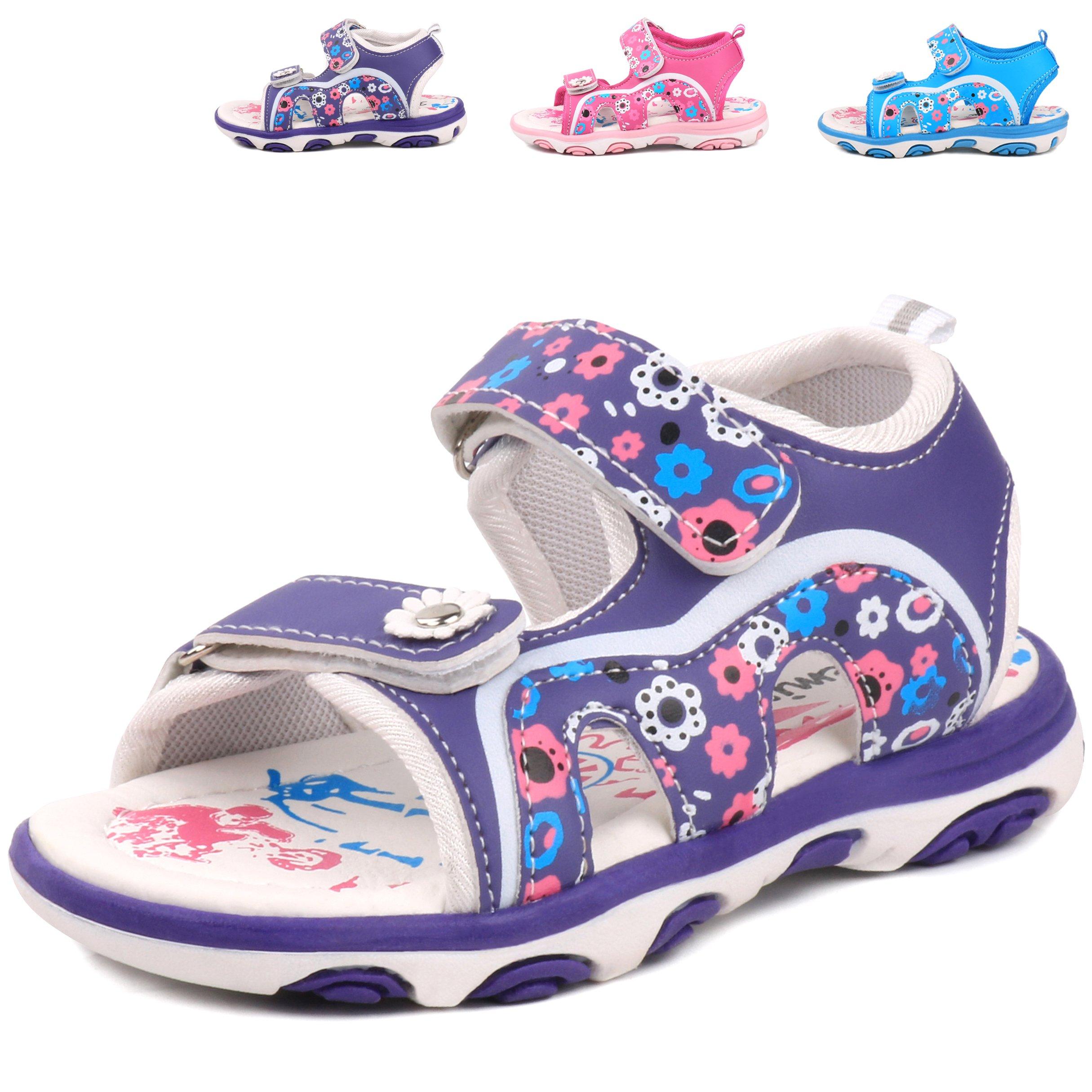 Femizee Girls Outdoor Summer Sandals,Purple,1541 CN28