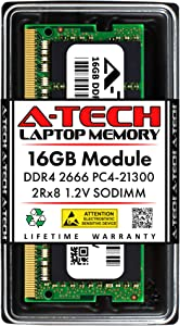 A-Tech 16GB DDR4 2666MHz SODIMM PC4-21300 2Rx8 Dual Rank 260-Pin CL19 1.2V Non-ECC Unbuffered Notebook Laptop RAM Memory Upgrade Module