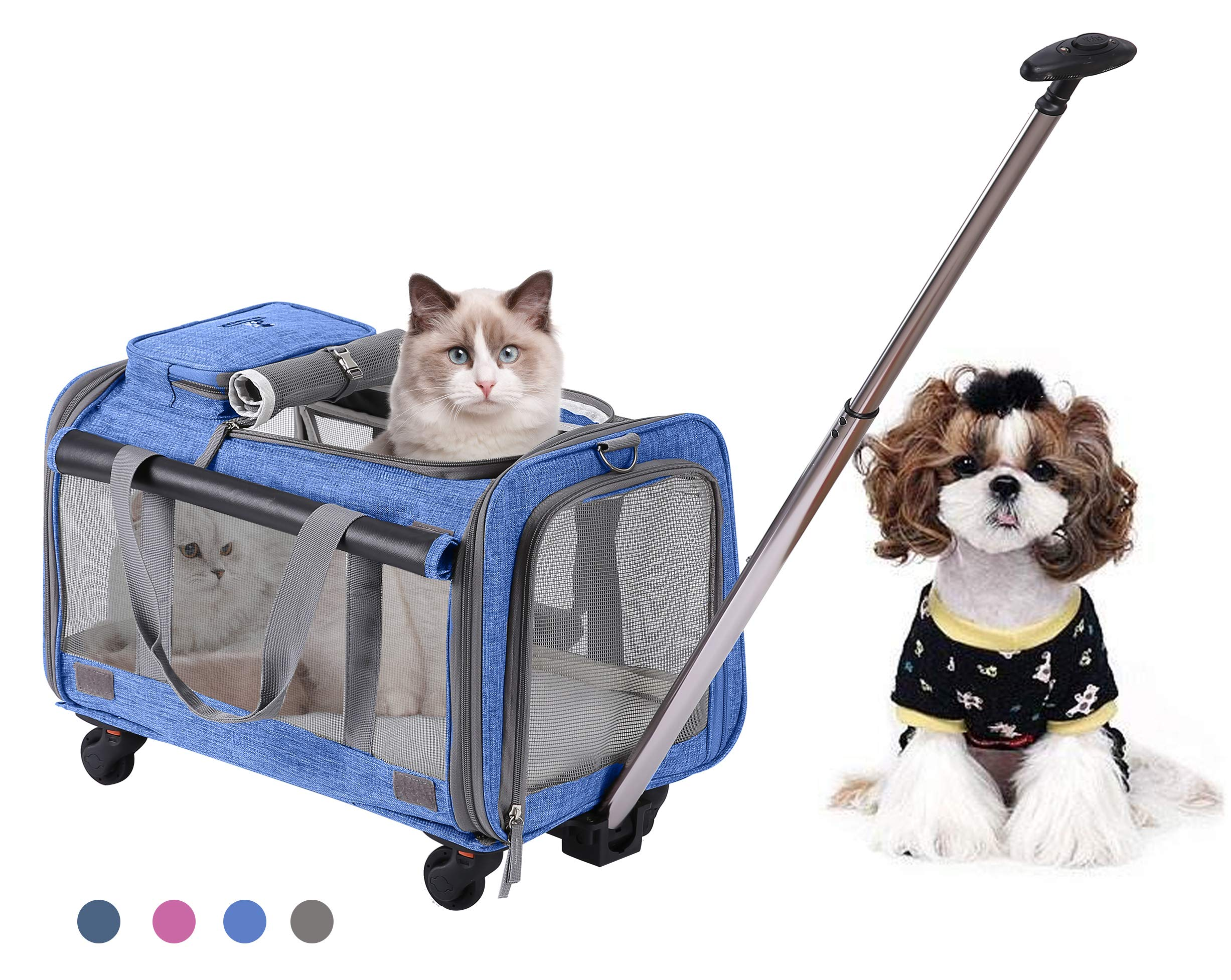 MOVEPEAK PET Carrier with Wheel, Luxury Pet Bag Strollers with Comfortable Fleece Mat for Travel, Hiking,Camping, Designed for Cats, Dogs, Kittens, Puppies, 360° Swivel Mute Wheels (Royal Blue)