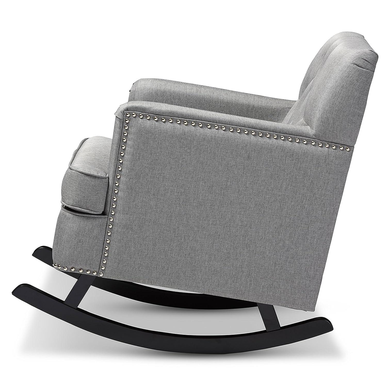 amazoncom baxton studio bethany modern  contemporary fabric  - amazoncom baxton studio bethany modern  contemporary fabric upholsteredbuttontufted rocking chair grey kitchen  dining