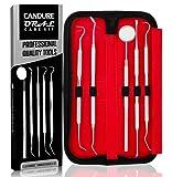 CANDURE® - 5er Dental Set Zahnreinigung Sonde Zahnpflege Edelstahl Instrument Zahnkratzer - Spitze abgewinkelt - Expert Pflegeset - Dental instrumente - Dentalsonde - Zahnsonde edelstahl - Zahnsteinkratzer - Instrument mit Scaler - Zahnsonde set
