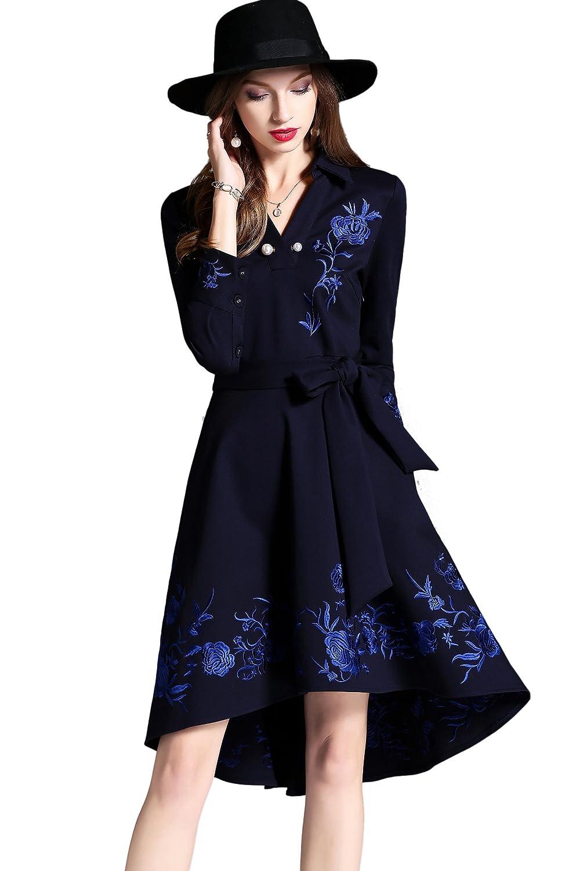 Deep bluee Angcoco Women's Long Sleeve VNeck Flowers Embroidery Irregular Hem Belted Dress